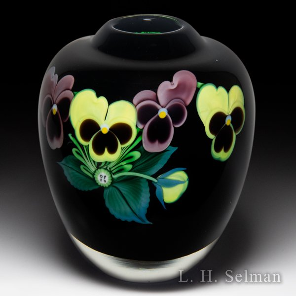 Orient & Flume 1984 pansy bouquet small vase, by Lee Hudin. by  Orient & Flume