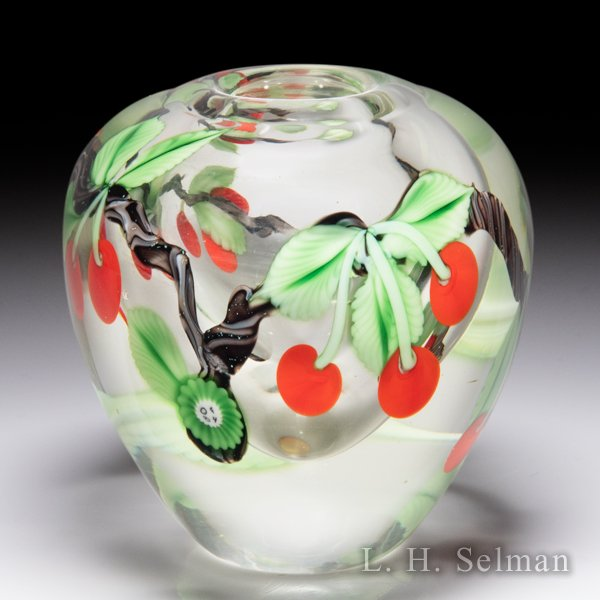 Orient & Flume 1984 cherries small vase, by Ed Seaira and Scott Beyers. by  Orient & Flume