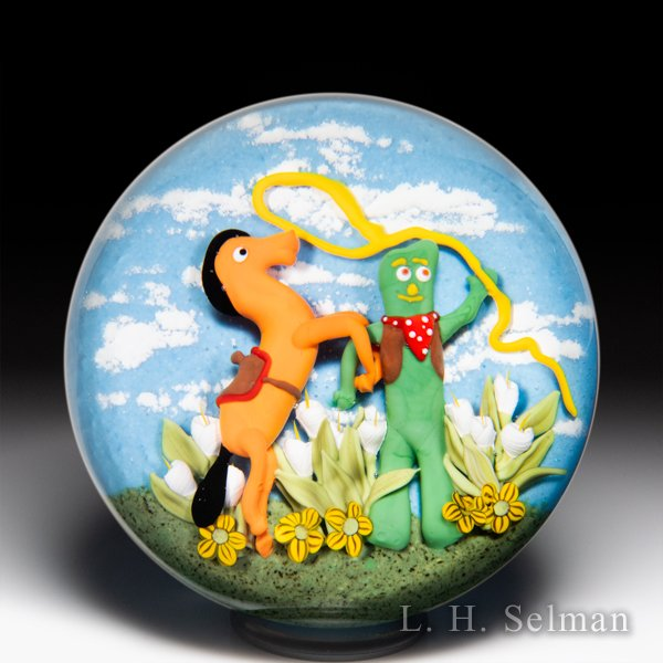 Clinton Smith 2020 Gumby and Pokey cowboy glass paperweight. by Clinton Smith