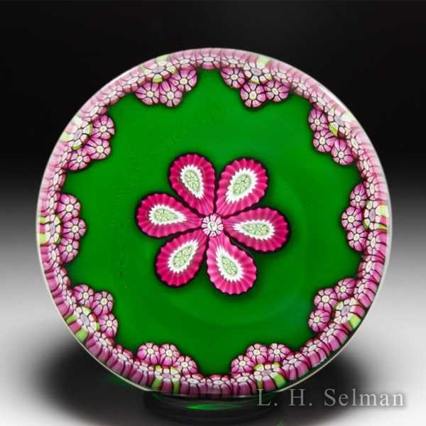 Perthshire Paperweights (1977) patterned millefiori flower and garland glass paperweight. by  Perthshire Paperweights