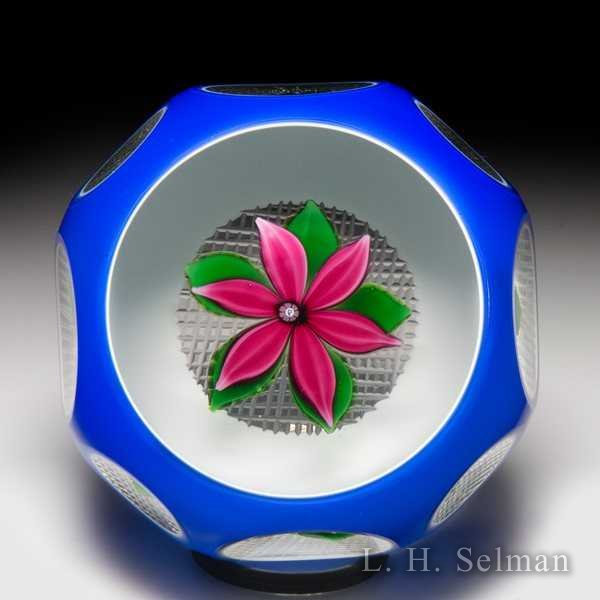 Perthshire Paperweights (1979) upright pink flower overlay faceted glass paperweight. by  Perthshire Paperweights