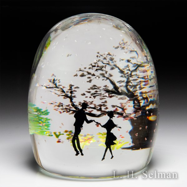 Alison Ruzsa 2020 'The Spring I Missed' couple silhouette and spring trees paperweight. by Alison Ruzsa