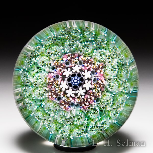 Damon MacNaught 2020 close concentric millefiori carpet ground paperweight. by Damon MacNaught