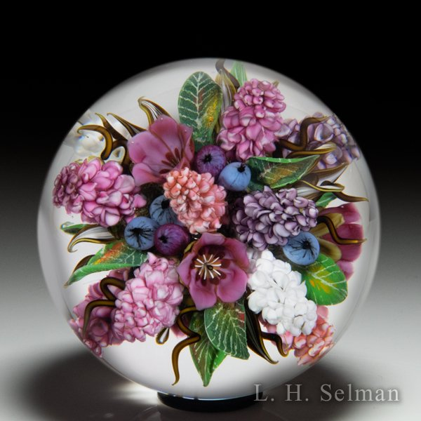 David Graeber 2020 'Lilac Memories' mountain laurel, lilac and blueberries all-over bouquet orb. by David Graeber