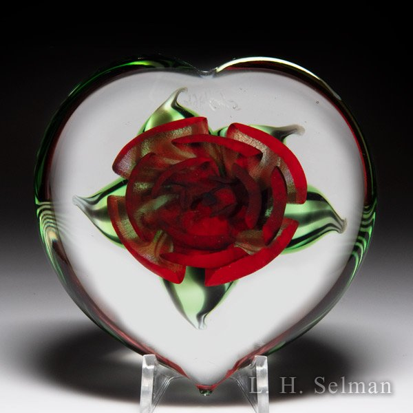 Chris Sherwin 2020 red crimp rose heart glass paperweight. by Christopher Sherwin