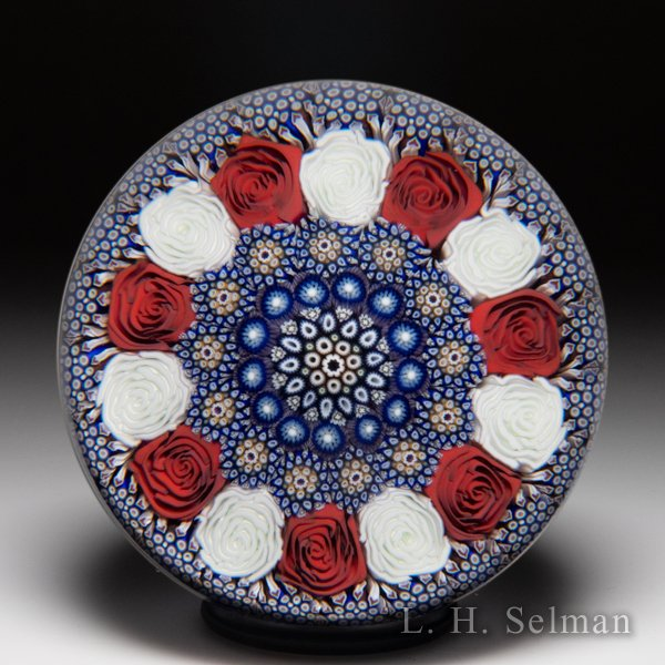 Mike Hunter 2011 close concentric millefiori and roses glass paperweight. by Twists Glass Studio