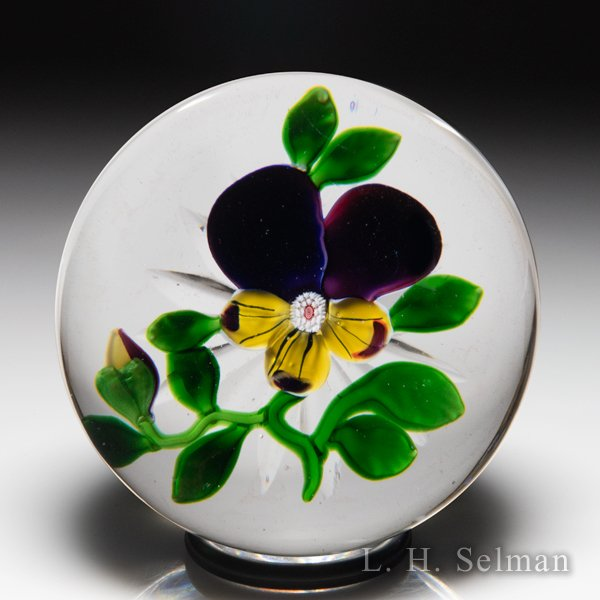 Antique Baccarat Type III pansy and bud paperweight. by  Baccarat Antique