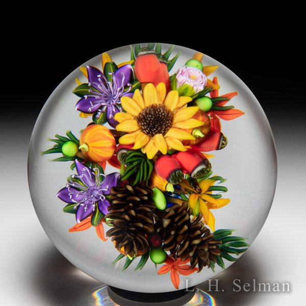 Ken Rosenfeld 2020 'Fall Bouquet' sunflower, pine cones, rose hip and pumpkin paperweight. by Ken Rosenfeld