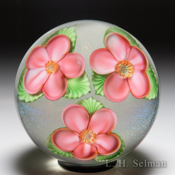 Orient & Flume pink floating dogwood blossoms paperweight, by Gregg Held. by Orient & Flume