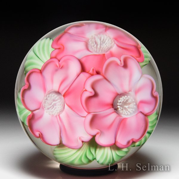 Orient & Flume pink dogwood blossoms glass paperweight, by Gregg Held. by  Orient & Flume