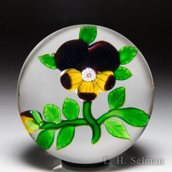Antique Baccarat Type III pansy and bud paperweight. by Antique Baccarat