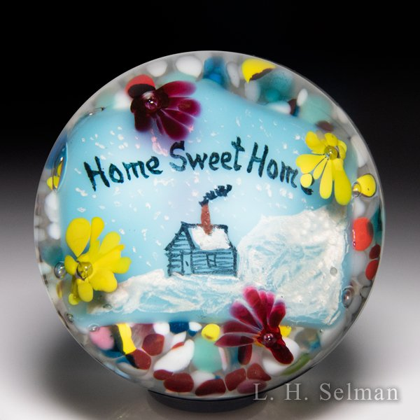 John Degenhart 'Home Sweet Home' motto painted plaque glass paperweight. by John Degenhart