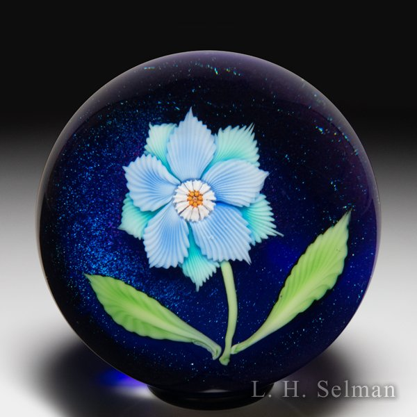 Orient & Flume 1979 blue and aqua double clematis glass paperweight. by  Orient & Flume