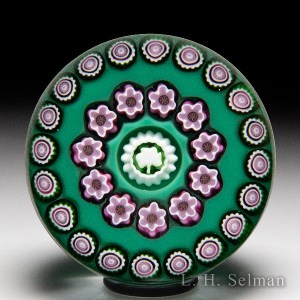 Julie Scrutton Lewis 1999 open concentric millefiori and shamrock glass paperweight. by Julie Scrutton Lewis