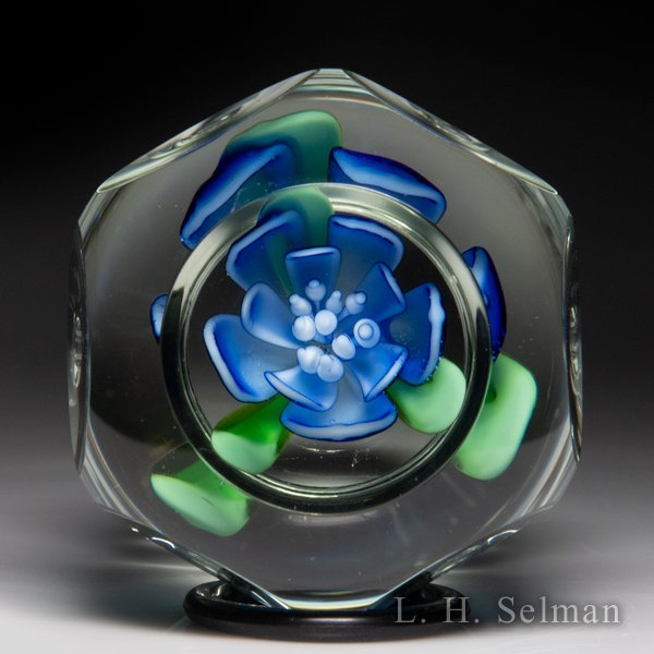 Robert Hamon blue crimp rose faceted pedestal glass paperweight. by  Misc Modern