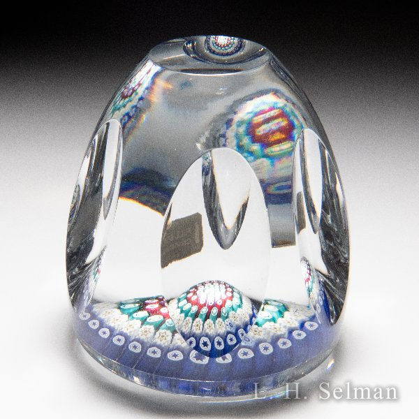 Whitefriars 1970 close concentric millefiori high-domed faceted paperweight. by WHITEFRIARS