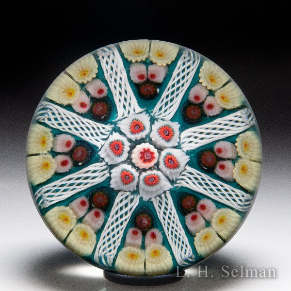 Strathearn patterned spokes and millefiori paperweight. by Assorted Modern