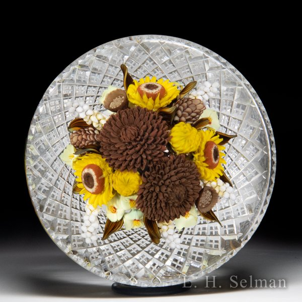 David Graeber and Jim Poore 2020 collaborative brown mum and sunflower fall bouquet fancy-cut glass paperweight. by David Graeber