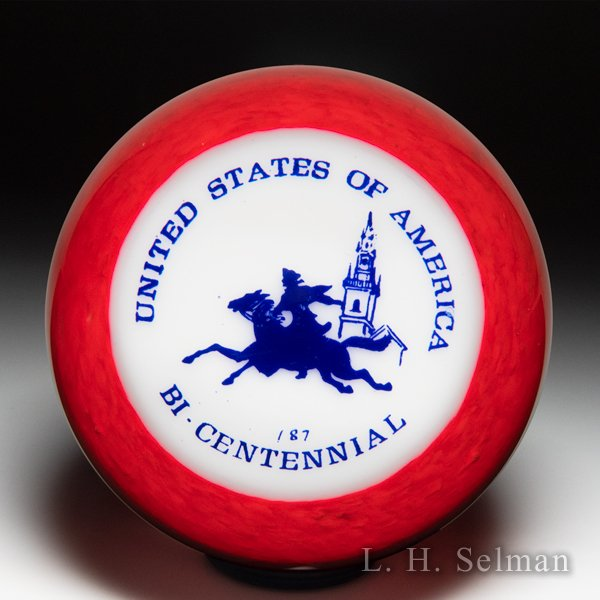 Woods 1975-1976 'United States of America Bicentennial' silhouette motto glass paperweight. by  Misc Modern