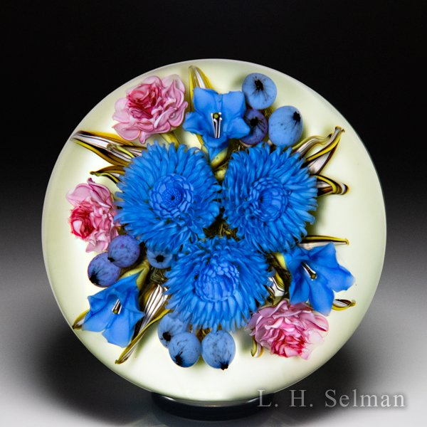 David Graeber 2016 chrysanthemum, pink rose and blueberry bouquet glass paperweight. by David Graeber