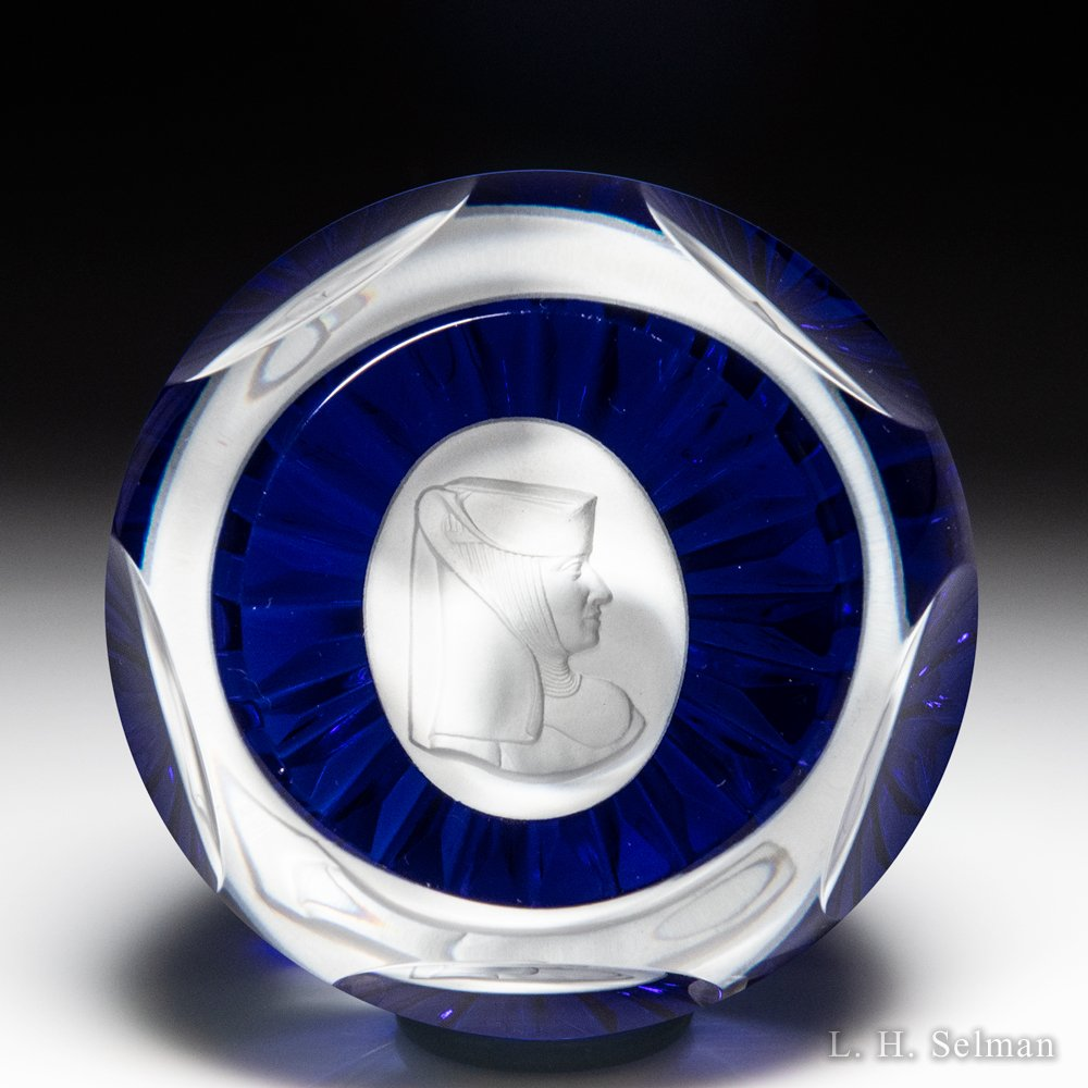 Schmid, France, 1978 Sister Berta Hummel sulphide faceted glass paperweight. by  Misc Modern